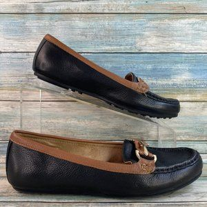 Aerosoles Drive Along Black Leather Loafers Flats